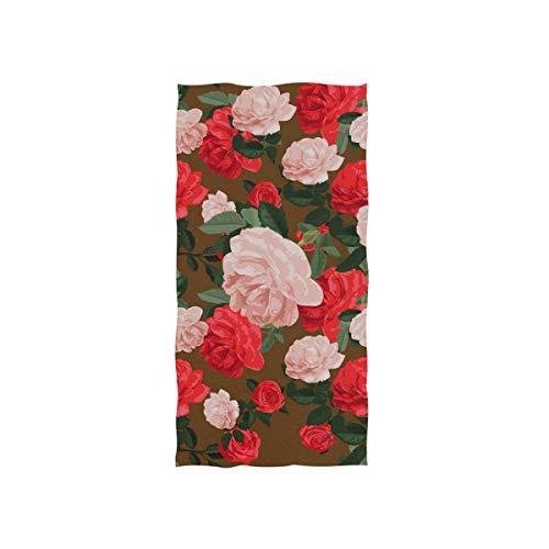FANTAZIO Premium Baumwoll-Handtuch, rote und rosa Rosen Luxus Baumwolle Waschlappen