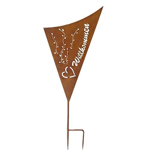 VARILANDO dekoratives Gartenschild in 2 Varianten Garten-Dekoration Metall-Dekoration (Willkommen)
