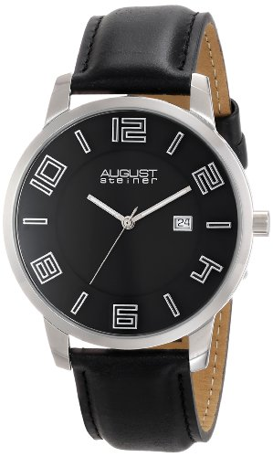 August Steiner Men's AS8108BKS Silver & Black Swiss Quartz Step Down Dial Watch with a Black Leather Strap