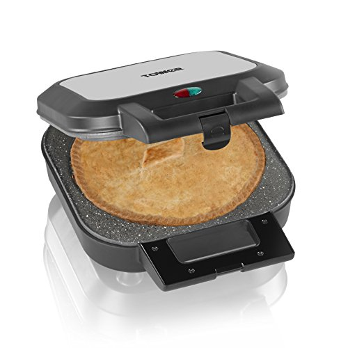 41uMzFIzDpL. SS500  - Tower T27006 Large Deep Fill Pie Maker with Easy Clean, Non-Stick Ceramic Plates, Cool Touch Handles and Non-Slip Feet, 1200 W, Silver/Black