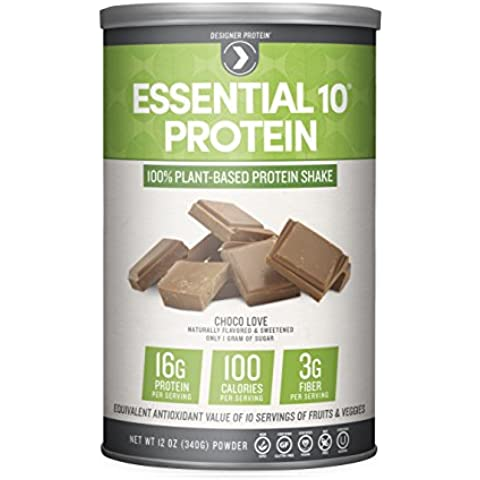 Designer Protein Essential Protein Plant-Based Protein Supplement, Choco-Love, 12 Ounce