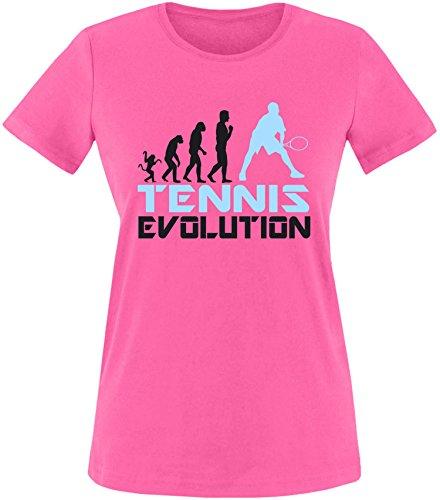 EZYshirt® Tennis Evolution Damen Rundhals T-Shirt Fuchsia/Schwarz/Hellbl