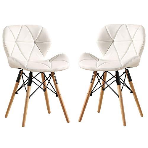 BAIVIN PU Esszimmerstuhl, Set mit 2 gepolsterten Sitzen und Holzbeinen Retro Style Büro Lounge Esszimmer Küche Schlafzimmer Möbel,D -