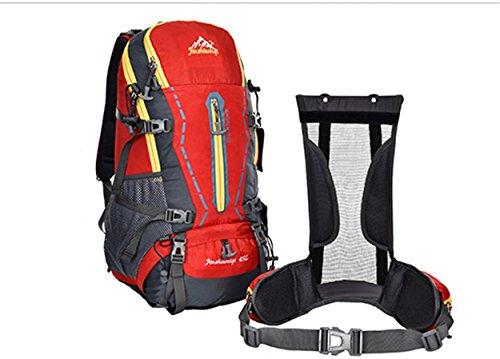 45L Rucksack Nylon wasserdicht große Kapazität Multifunktions-Rucksack mit abnehmbaren Rucksack mit dem System für Bergsteigen Reisen Klettern Outdoor Sports Pack H55 x L32 x T22 cm Red