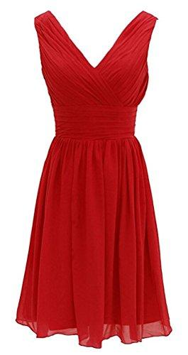 Brinny Doppelt V-Ausschnitt Rueschen an Taille Elfenbein Kurz Damen Party Kleid Chiffon Cocktailkleid Knielang Rot