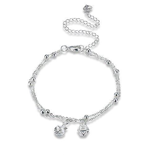 Seestern Kostüm Baby (Adisaer Versilbert Fußkettchen Damen Knöchelkette Ball Beads Mond Sterne mit Kristall Fußkette Silber Einstellbar Rolokette Lange 20+10CM Strand)