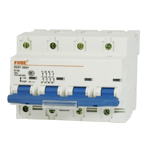 DealMux AC 400V 100A Four Poles Overload Protection MCB Mini Circuit Breaker -