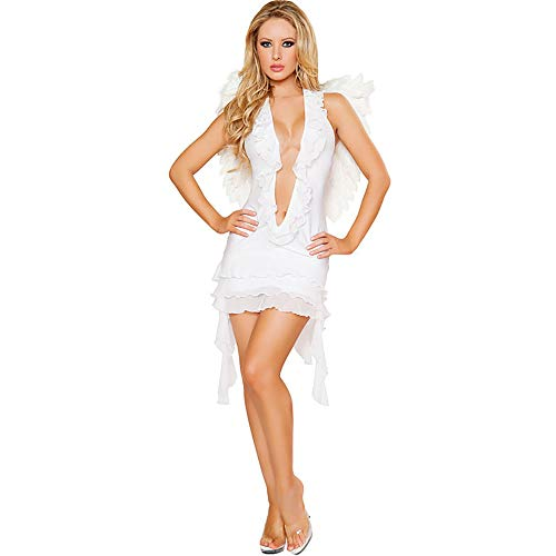 (GAOJUAN Halloween Cosplay Kostüm Erwachsene Cosplay Teufel Dark Angel Kostüm Sexy Game Uniform Kostüm Geeignet Für Karneval Thema Parteien Halloween Neujahr Festival,White)