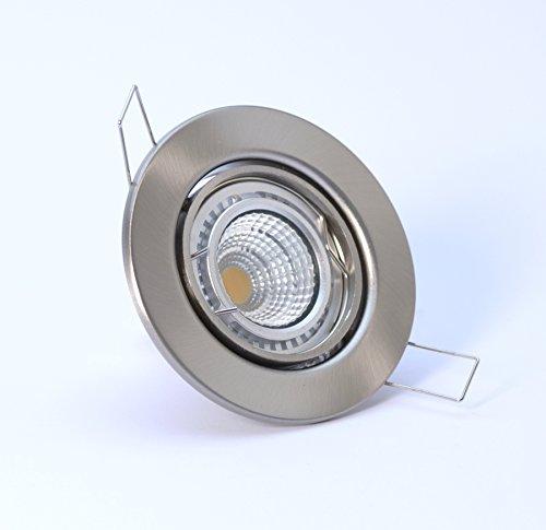 5er-Set LED-Einbauleuchten DECORA 230V - Warm-Weiß - 3 Watt (= 5 x 45 Watt) - Farbe: Edelstahl gebürstet - schwenkbar - COB LED