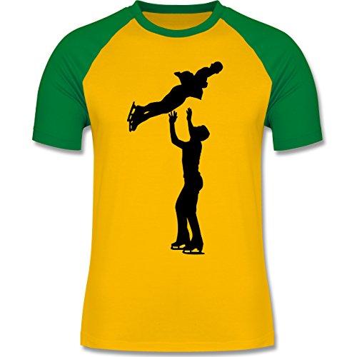 Wintersport - Eiskunstlauf Paarlaufen Eiskunstläufer - zweifarbiges Baseballshirt für Männer Gelb/Grün