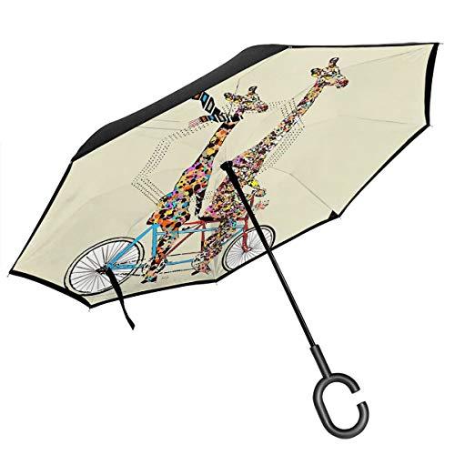 ScDJrock Giraffes Days Lets Tandem Inverted Umbrella Self Standing Inside Out Regenschutz-Regenschirm Mit C-förmigem Handgriff Für Reisen Und Auto