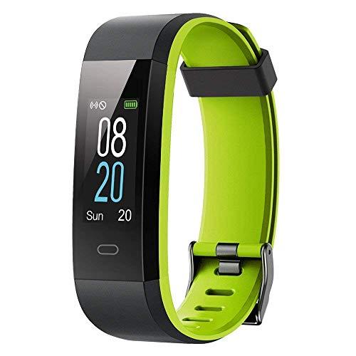cuwmoc, orologio fitness con schermo a colori, impermeabile, ip68, con cardiofrequenzimetro, contapassi, per bambini, donne, uomini, chiamate, sms, 115c, green