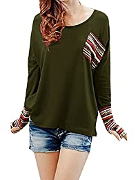 Yidarton Tee Shirt Femme a Manches Longues Col Rond Casual Top Blouse Haut (2 styles différents)