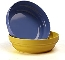 Ektra Melamine Rise N Shine Bowl Set for Salad, Snack, Dessert, Oats Cereal Serving Tableware Kitchen Dinnerware 300 ml | Set of 2, Blue and Yellow