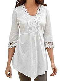ff491ff1d332 Frühling und Herbst Damen Lang Oberteile Freizeit Halbe Hülse Tops T-Shirt  Mode Spitzen Spleißen