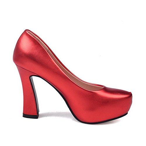Alto Pelle Colore Solido Leggere Hanno Rosso In Scarpe Donna Agoolar Tacco Rotondo qftPwUS