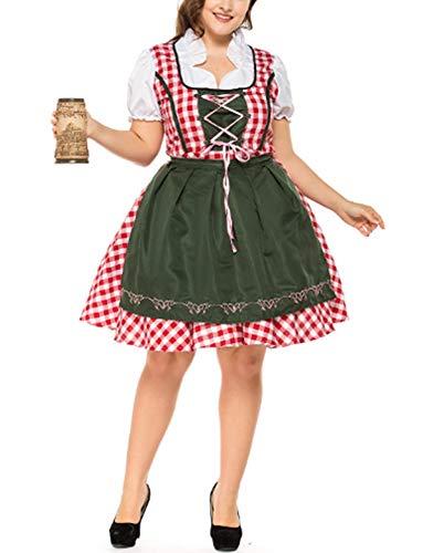 Bavaroise Kostüm - Mitef Dirndl Kostüm für Damen Midi Trachten zum Oktoberfest,S