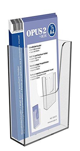 OPUS 2 350075-Wand Prospekthalter für DIN 1/3 A4 im Hochformat, Transparent, Acryl.