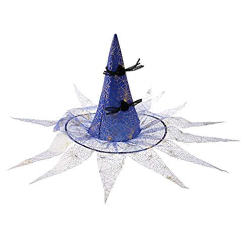 MagiDeal Zaubererhut Hexenhut Spitzen Hut Halloween Kostüm hat mit Quasten für Kinder - Blau (Halloween Kostüme Arts And Crafts)