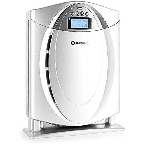 Klarstein Grenoble purificador de aire (ionizador, 3 velocidades, temporizador, filtro de carbón activo para un entorno hipoalérgico, mando a distancia, silencioso) - plateado