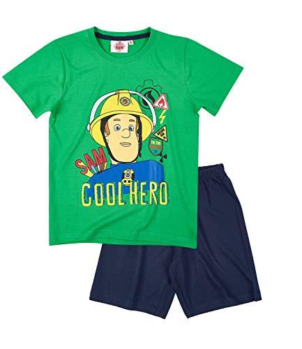 Feuerwehrmann Sam Jungen Shorty-Pyjama - grün - 116