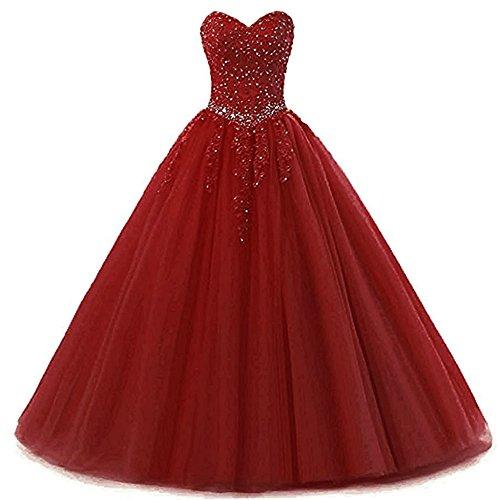 Burgund Quinceanera Kleid (Zorayi Damen Liebsten Lang Tüll Formellen Abendkleid Ballkleid Festkleider Burgund Größe 42)