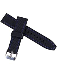 banda de reloj de buceo de goma suave impermeable del deporte de silicona de 22 mm perforada con hebilla (luz costuras azules)