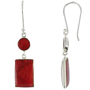 Les Poulettes Jewels - Sterling Silver Earring - Rectangle Ball Color Coral