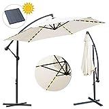 wolketon Alu Ampelschirm Ø 300cm mit Solar LED Warmweiß Beleuchtung Sonnenschirm Gartenschirm Kurbelschirm UV 30+ Schirm Marktschirm