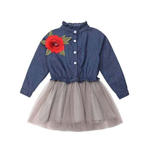 Happy Event Kleinkind Baby Mädchen Blume Denim Mesh Patchwork Tüll Princess Dress Clothes (Blau, 12-24 Monate-90)