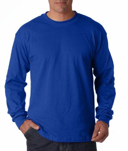 Gildan Heavy Cotton T-Shirt Long Sleeve 5,3 Unzen Blau - Königsblau