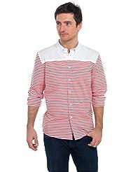 Para hombre enrollable bloque de funda y rayas para hombre Tom Franks Casual bloques de color Botón Down Camisa