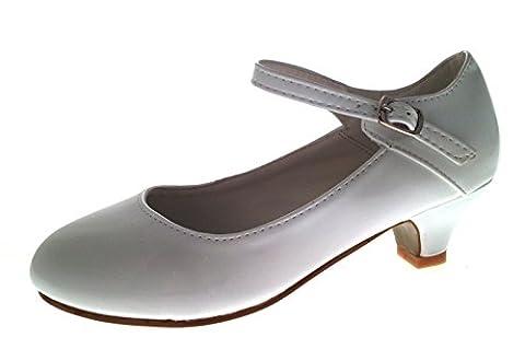 Lora Dora Mary Jane Chaussures à talon bas en similicuir bride en T pour enfants Taille 28–18 - blanc - Mary Jane - White Patent,