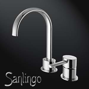Design 2 Trous Bain Évier Mitigeur Lavabo Ovale Massif Laiton Chrome Sanlingo