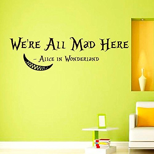 Wall Decals Vinyl Sticker We're all mad here Cheshire Cat Sayings Quote Alice in Wonderland Quotes Kitchen Nursery Baby Kids Children Room Decal Home Decor Murals Bedroom Studio Dorm by DecorimDecorWallDecal