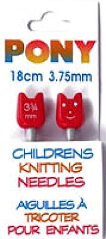 Pony Children's Metal Knitting Pins/ Knitting Needles 18cm long - 3.75mm