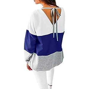 Damen Sweatshirt Langarmshirt V-Ausschnitt Pullover Casual Sport Shirt Oberteile mit Tie Back