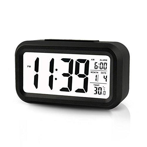 Digitale Smart Wecker ,5.3 Clock einfache und Silent LED Alarm w / Datum-Anzeige, Wiederholung Snooze und Sensor-Licht Night Light (Black)