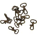 10pcs Porte Clef Mousqueton Fermoir Porte clé Pivotant Métal Bronze 3.3cm