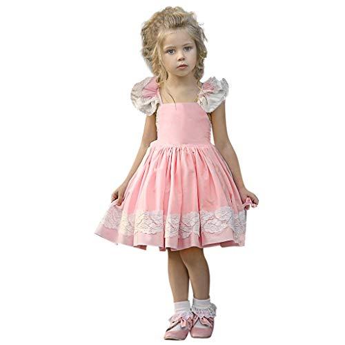 Frühling Sommer Kleid - Kleinkind Baby Rüschen ärmellose rückenfreie Riemen Spitze Sommerkleid für 0-4 Jahre ()