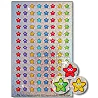 12mm mini sparkly smiley stars: 4 sheets, 416 reward stickers