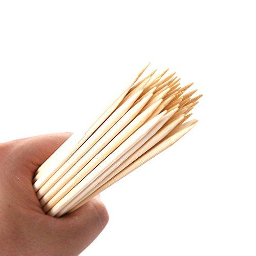 41uN82JenRL - Lumanuby 90 x Holz Grillspieße Marinaden Sticks, Einweg-Grill Utensilien Bambus Party Sticks, perfekt für BBQ Fleisch, Steaks vieles mehr (20 cm)