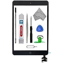 Digitalizador Pantalla táctil frontal para iPad Mini 1 / 2 Negro 9.7 pulgadas MMOBIEL. Incluye botón de inicio y cable flex + soporte cámara + adhesivos pre instalados + kit herramientas