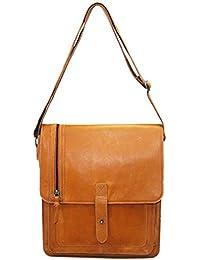 Taurus Indicus Unisex Genuine Leather Tan Messenger Bag (Medium)