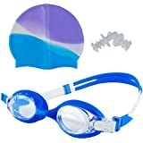 Wishkey Swimming UV Protection And Anti Fog Optic Quality Water Tight And Adjustable Comfortable Fit Goggle With 2 Ear Plugs And Silicone Cap With Ear Protection Combo For Kids Boys & Girls