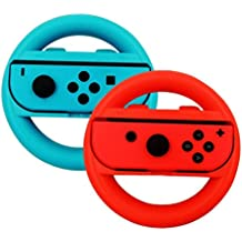 Steering Wheel For Nintendo Switch Controller, Leegoal 2 Pack Joy-Con Wheel Hand Grips For Nintendo Switch, Blue And Red
