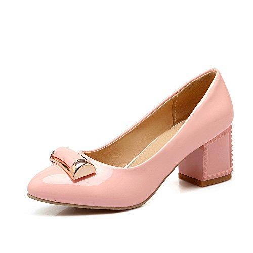 AllhqFashion Damen Lackleder Spitz Zehe Mittler Absatz Ziehen Auf Eingelegt Pumps Schuhe Pink