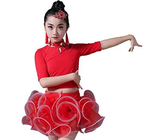 SMACO Kinder Latin Dance Kostüme Mädchen Latin Dance Kleider Wettbewerb Kostüme Sequined Fringe Kleider Orange Red Blue White,Red,120CM (White Blue-outfits Und Red Mädchen)