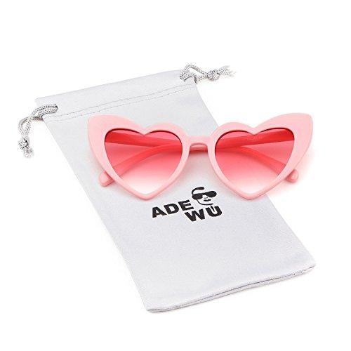 ADEWU Herzform Sonnenbrille Mode Retro Brille Damen Frauen (A - Rosa)