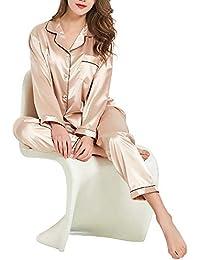 GAESHOW Womens Silk Satin Pajamas Set pJ Sets Long Sleeve Sleepwear  Loungewear for All Seasons eeed674be